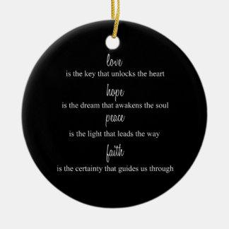 Love, Hope, Peace, Faith Double-Sided Ceramic Round Christmas Ornament