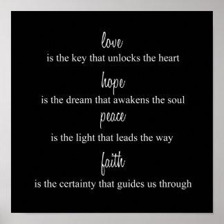 Love, Hope, Peace, Faith Poster