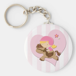 Love Horseriding Pink Stripes Keychain