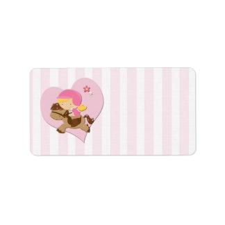 Love Horseriding Pink Stripes Address Label