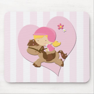 Love Horseriding Pink Stripes Mouse Pad