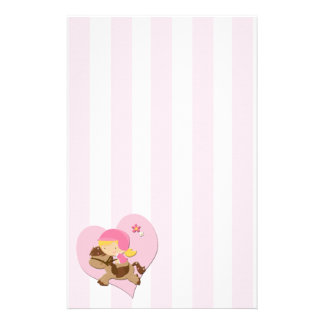 Love Horseriding Pink Stripes Stationery