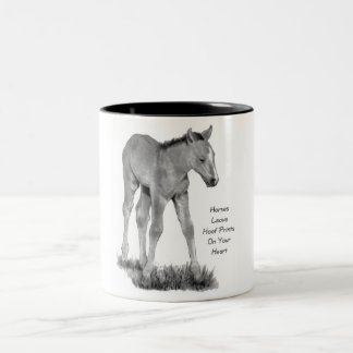 Love Horses: Hoofprints On Your Heart: Pencil Two-Tone Coffee Mug