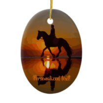 Love Horses, Horseback Riding, Personalized gift Ceramic Ornament