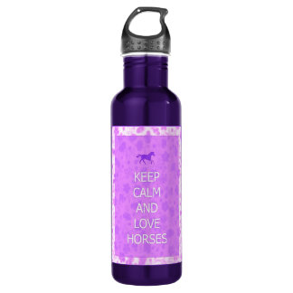 Love Horses purple Stainless Steel Water Bottle