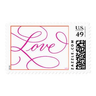 Love . Hot Orange Hot Pink Postage