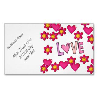 love,hot pink business card magnet