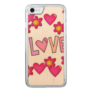 love,hot pink carved iPhone 8/7 case