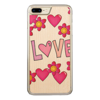 love,hot pink carved iPhone 8 plus/7 plus case