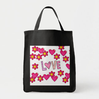 love,hot pink grocery tote bag