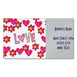 love,hot pink magnetic business card