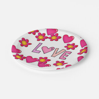love,hot pink paper plate