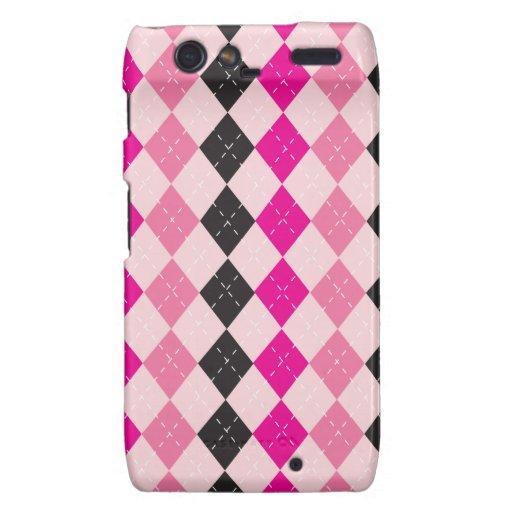 Love Hot Pink,Pink & Black Argyle Phone Case Motorola Droid RAZR Cover