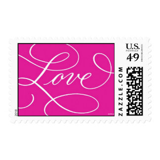 Love . Hot Pink Postage Stamps