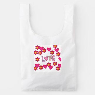 love,hot pink reusable bag