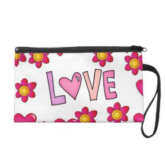 love,hot pink wristlet purses