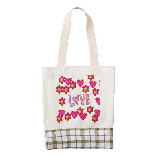 love,hot pink zazzle HEART tote bag