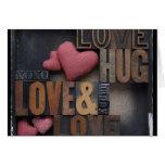 love hug hearts greeting card