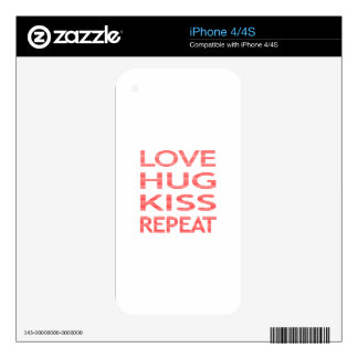 LOVE HUG KISS REPEAT - strips - red and white. Decals For The iPhone 4S