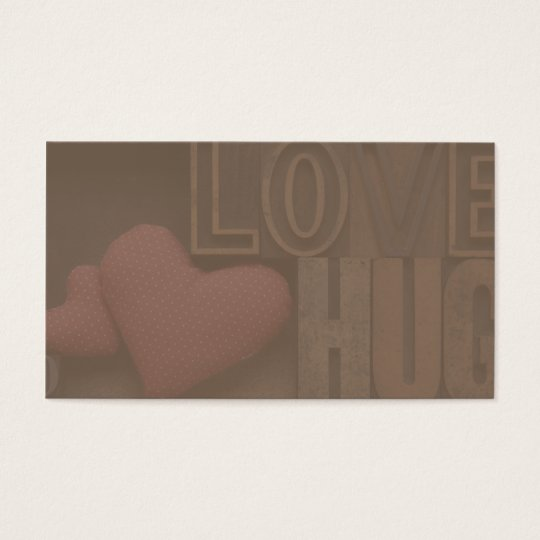 love hug type business card