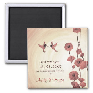 Love Hummingbirds and Painted Flowers Save the Dat 2 Inch Square Magnet