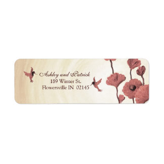 Love Hummingbirds and Painted Red Flowers Label