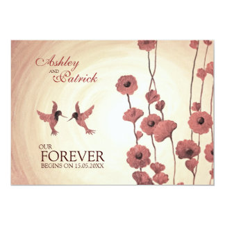 Love Hummingbirds and Painted Red Flowers Wedding Card