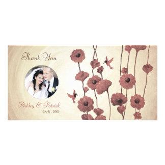 Love Hummingbirds & Red Flowers Photo Card