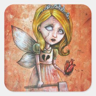 Love Hurts Dark Valentines Undead Princess Square Stickers