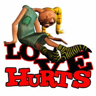 LOVE HURTS EMO POUTING GIRL STANDING PHOTO SCULPTURE