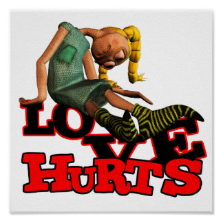 LOVE HURTS EMO POUTING GIRL POSTERS