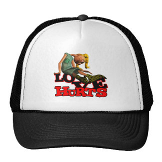 LOVE HURTS EMO POUTING GIRL TRUCKER HAT