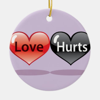 Love Hurts floating hearts red and black Ceramic Ornament