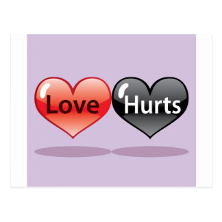 Love Hurts floating hearts red and black Postcard