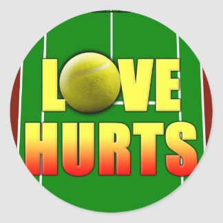 Love Hurts, Funny Tennis Classic Round Sticker