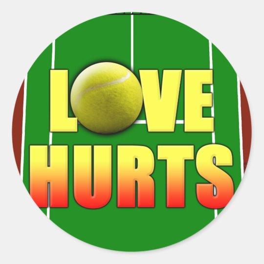 Love Hurts, Funny Tennis Classic Round Sticker