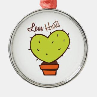 Love Hurts Round Metal Christmas Ornament