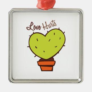 Love Hurts Square Metal Christmas Ornament