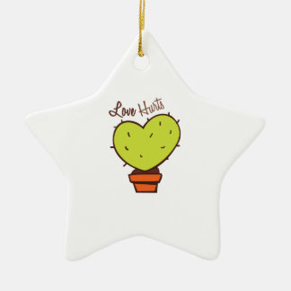 Love Hurts Double-Sided Star Ceramic Christmas Ornament