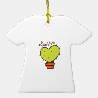 Love Hurts Double-Sided T-Shirt Ceramic Christmas Ornament