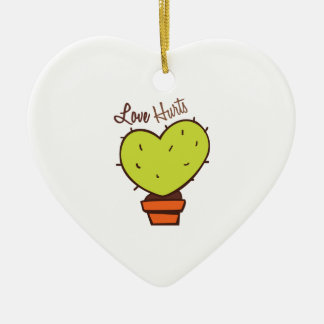 Love Hurts Double-Sided Heart Ceramic Christmas Ornament