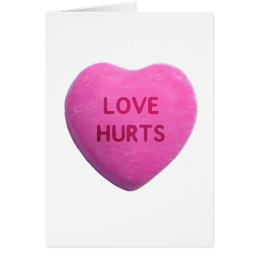 Love Hurts Pink Candy Heart Cards