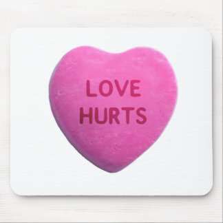 Love Hurts Pink Candy Heart Mouse Pad