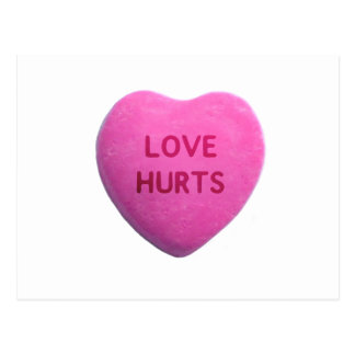 Love Hurts Pink Candy Heart Postcards