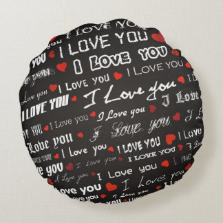 Love I Love You Hearts Round Pillow