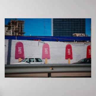 LOVE ice cream graffiti Poster