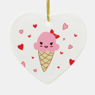 Love Ice Cream Double-Sided Heart Ceramic Christmas Ornament