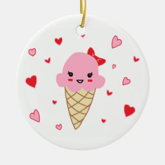 Love Ice Cream Double-Sided Ceramic Round Christmas Ornament