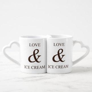 Love & ice cream couples' coffee mug set