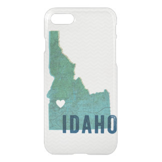Love Idaho Topographic Blue Map and White Heart iPhone 8/7 Case